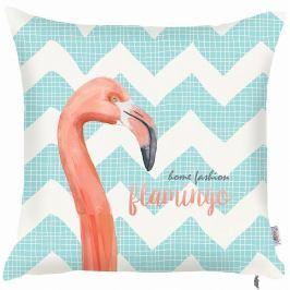 Modrý povlak na polštář Apolena Zigzag Flamingo, 43x43cm