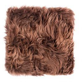 Tmavě hnědý sedák z ovčí kožešiny na jídelní židli Royal Dream, 40x40cm