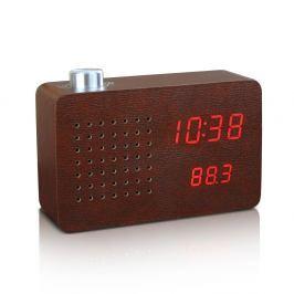 Tmavě hnědý budík s červeným LED displejem a rádiem Gingko Radio Click Clock