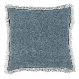 Modrý sametový polštář Clayre & Eef, 45 x 45 cm