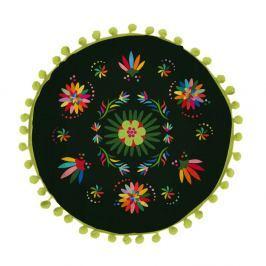 Oboustranný polštář Madre Selva Ave Otomi Negro, ⌀ 45 cm