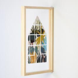 Nástěnná dřevěná dekorace Really Nice Things Jungle Window, 30 x 50 cm