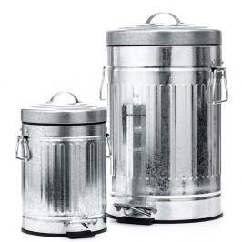 Sada 2 odpadkových košů ve stříbrné barvě Tomasucci America
