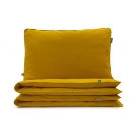 Hořčicově žluté bavlněné povlečení na jednolůžko Mumla, 140 x 200 cm