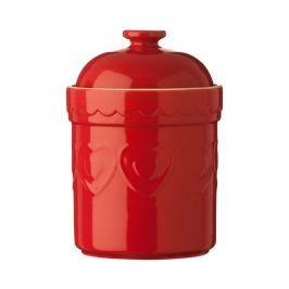 Červená kameninová dóza Premier Housewares Sweet Heart, 1,5 l
