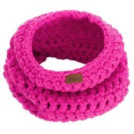 Růžová ručně háčkovaná kruhová šála DOKE Ava