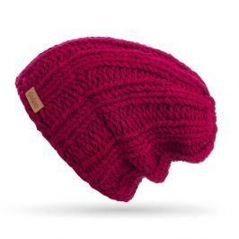 Vínově červená ručně pletená čepice DOKE Mina