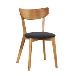 Hnědá dubová jídelní židle s tmavě šedým sedákem Rowico Ami