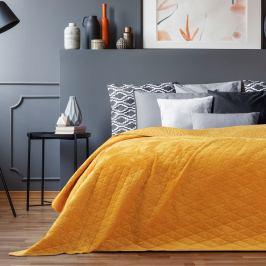 Žlutý sametový přehoz přes postel AmeliaHome Laila Honey, 260x240cm