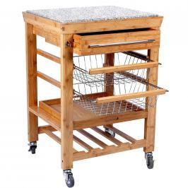 ROLLING STONE Servírovací vozík žula/bambus