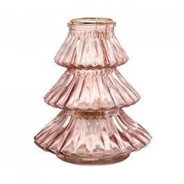 YULE Svícen stromek 19 cm - růžová