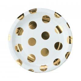 GOLDEN DOTS Papírové talířky zlaté puntíky 10 ks