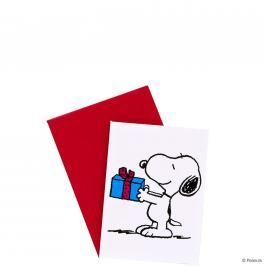PEANUTS Mini přání Snoopy s dárkem