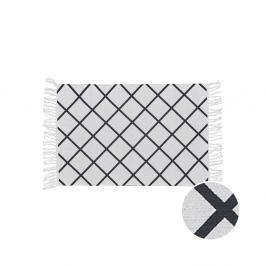 SILENT DANCER Koberec s třásněmi kárový vzor 60 x 90 cm - černá/krémová
