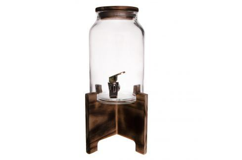 Láhev sklo 4,2 l+kohoutek+stojan dřevo ORION Zásobníky na vodu