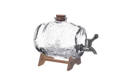 Soudek sklo+kohoutek+stojan dřevo 1 l ORION Zásobníky na vodu