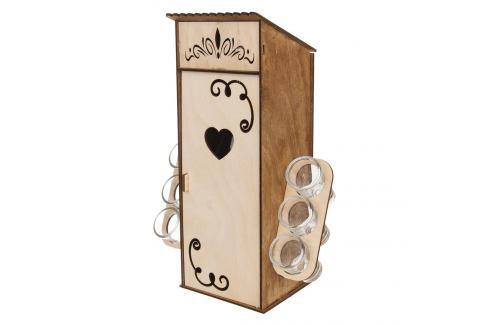 Stojan dřevo BUDKA+láhev sk. 0,5 l+odliv. sk. 6 ks ORION Vybavení kuchyně