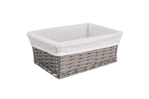 Košík proutí/bavlna 40x30x16,5 cm ŠEDÝ ORION Prádelní koše
