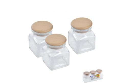 Dóza sklo/dřevo víko 0,12 l 3 ks ORION Kořenky, mlýnky