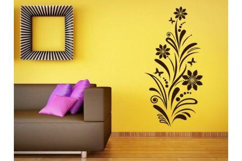 Samolepka na zeď Květiny s motýly 006 Květiny s motýly