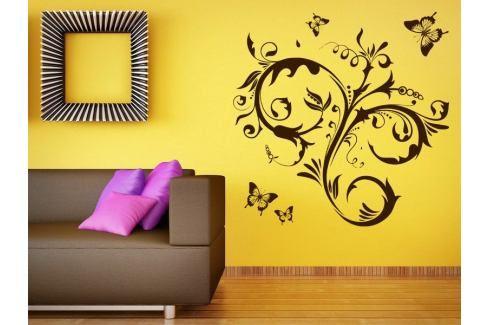 Samolepka na zeď Květiny s motýly 010 Květiny s motýly