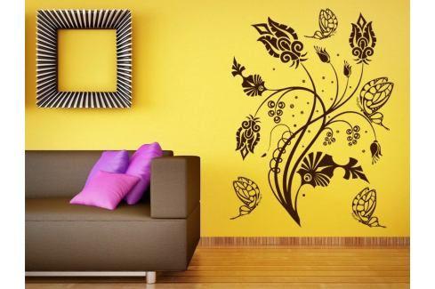 Samolepka na zeď Květiny s motýly 015 Květiny s motýly