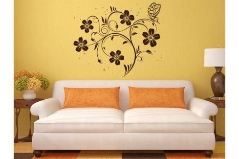 Samolepka na zeď Květiny s motýly 017 Květiny s motýly