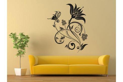 Samolepka na zeď Květiny s motýly 019 Květiny s motýly
