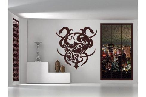 Samolepka na zeď Lebka s hady 001 Lebka