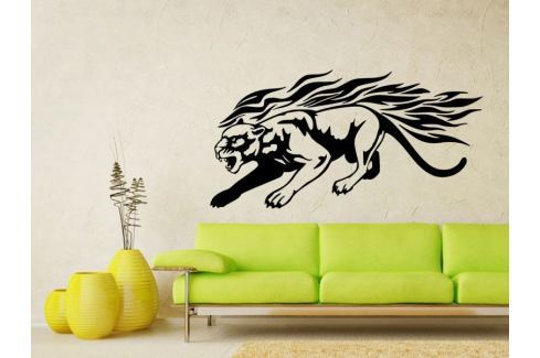 Samolepka na zeď Tygr s plameny 005 Tygr