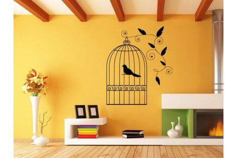 Samolepka na zeď Ptáci v kleci 003 Ptáci