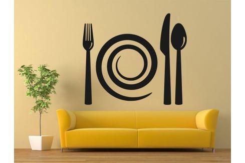 Samolepka na zeď Příbory a talíř 0090 Příbory
