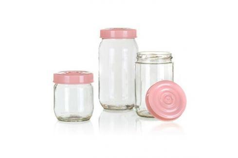 Sada skleněných dóz LINZI, 3 ks, růžová (TEV34085002) Mísy a misky