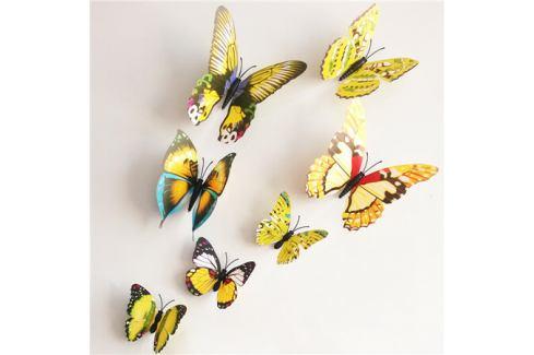 Samolepicí 3D motýlci s magnetem žlutá, 12 ks Samolepky na zeď