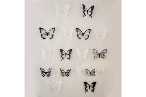 Samolepicí 3D motýlci černo-bílá, 18 ks Samolepky na zeď