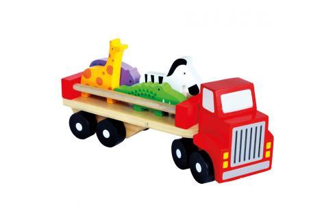 Bino Náklaďák se zvířaty Dřevěné hračky