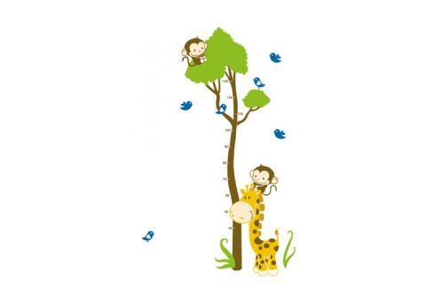 Samolepicí dekorace Metr žirafa s opičkou Samolepky na zeď