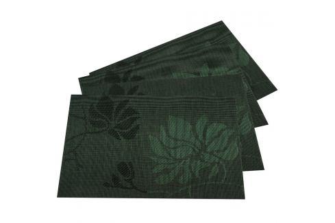 JAHU Prostírání Listy tmavě zelená, 30 x 45 cm, sada 4 ks Prostírání