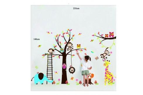 Samolepka na zeď Samolepka pohádkový strom sovičky, opice Samolepky na zeď