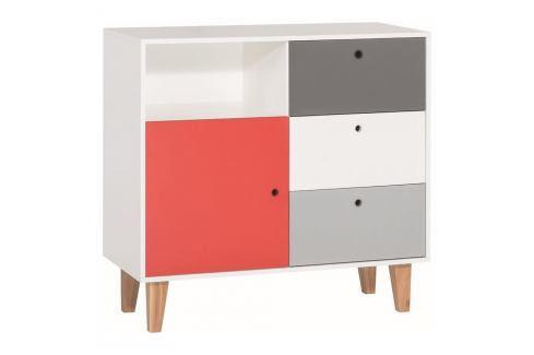 Bílo-šedá komoda s červeným detailem Vox Concept Komody