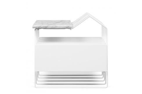 Bílý noční stolek s mramorovou deskou TemaHome Domi Noční stolky