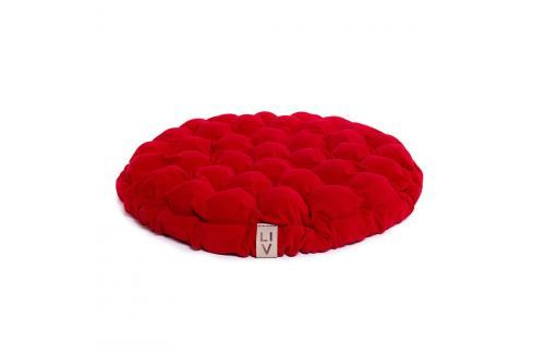 Červený sedací polštářek s masážními míčky Linda Vrňáková Bloom, Ø65cm Polštáře apřehozy