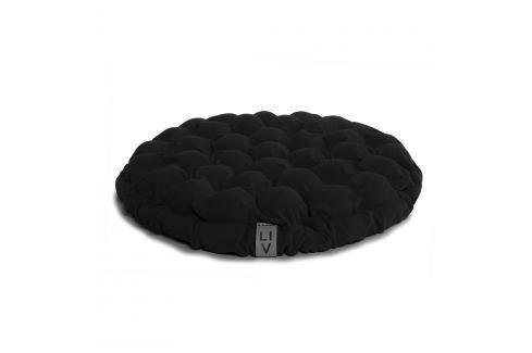 Černý sedací polštářek s masážními míčky Linda Vrňáková Bloom, ø65cm Polštáře apřehozy