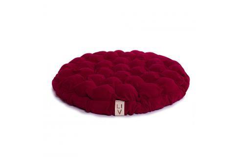 Cyklamenově růžový sedací polštářek s masážními míčky Linda Vrňáková Bloom, Ø65cm Polštáře apřehozy