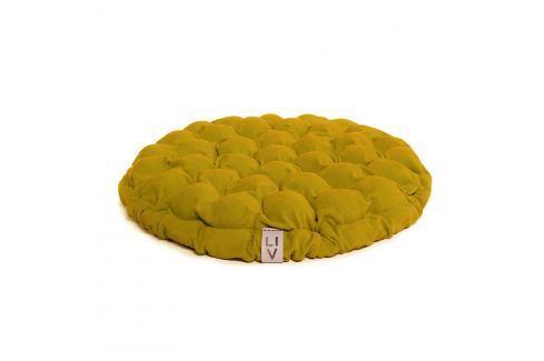 Hořčicový sedací polštářek s masážními míčky Linda Vrňáková Bloom, ø65cm Polštáře apřehozy