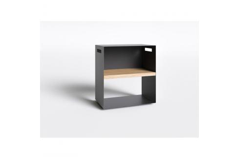 Černý noční stolek s deskou z dubového dřeva take me HOME, 50x30cm Noční stolky