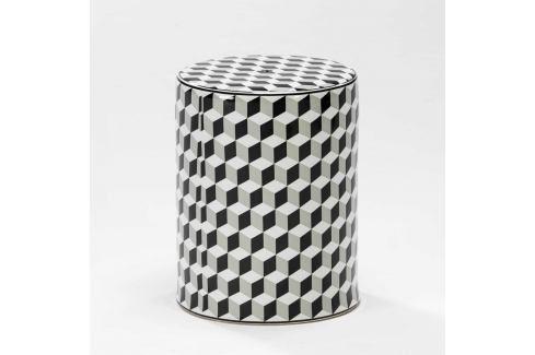 Bílo-šedá keramická stolička Thai Natura, 33 x 43 cm Stoličky