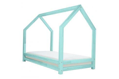 Tyrkysová dětská postel z lakovaného smrkového dřeva Benlemi Funny, 90 x 200 cm Jednolůžkové postele
