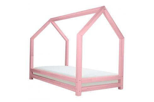 Růžová dětská postel z lakovaného smrkového dřeva Benlemi Funny, 90 x 160 cm Jednolůžkové postele