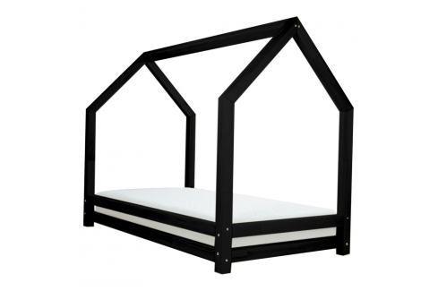 Černá dětská postel z lakovaného smrkového dřeva Benlemi Funny, 90 x 200 cm Jednolůžkové postele